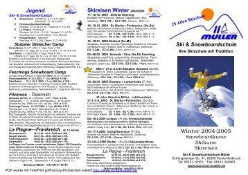 Skireisen Winter 2004/2005 - Skischule Müller