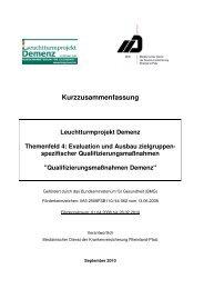 Evaluation und Ausbau zielgruppen - des MDK Rheinland-Pfalz