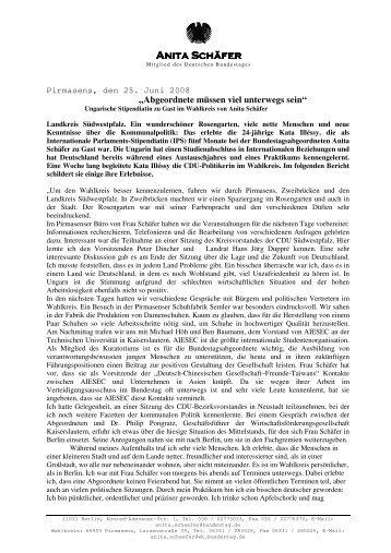 Pressemitteilung lesen - Schäfer, Anita (MdB)