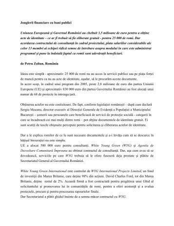 Fonduri europene pentru romi
