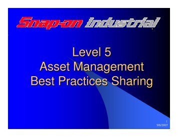 Level 5 Asset Management Best Practices Sharing - National ...