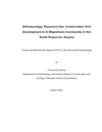Ethnoecology, Resource Use, Conservation And Development In A ...