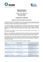 Comunicado ao Mercado - Indústrias Romi SA