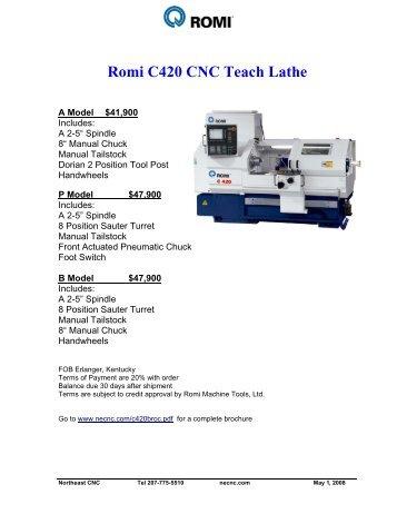 Romi C420 CNC Teach Lathe - Northeast CNC