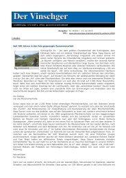 Der Vinschger - Westtiroler Zeitung für Politik, Kultur, Sport und - Sent