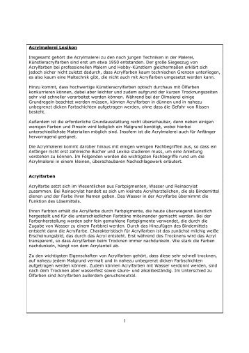 Acrylmalerei Lexikon - Acrylmalerei und Acrylbilder