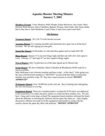 Aquatics Booster Meeting Minutes January 7, 2002 - El Toro ...