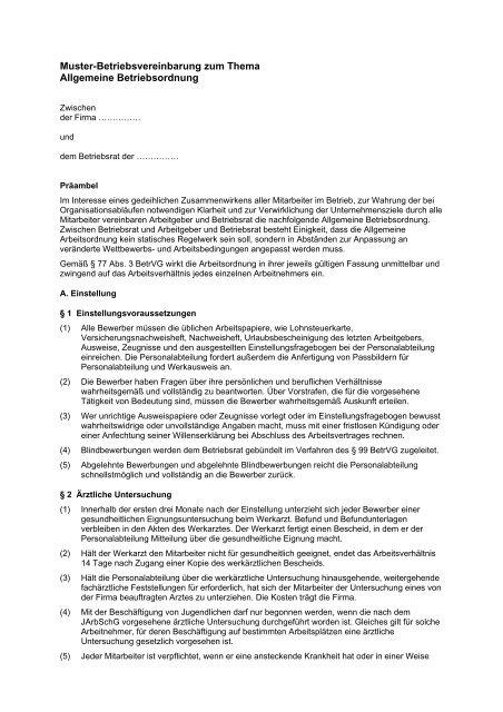 Muster Betriebsvereinbarung Als Pdf Br Wiki 10
