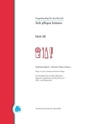Sich pflegen können Heft III - Kuratorium Deutsche Altershilfe