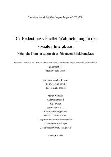 Die Bedeutung visueller Wahrnehmung in der sozialen ... - Tarlanc.ch