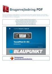 Brugsanvisning BLAUPUNKT TRAVELPILOT E1 - Brugervejledning