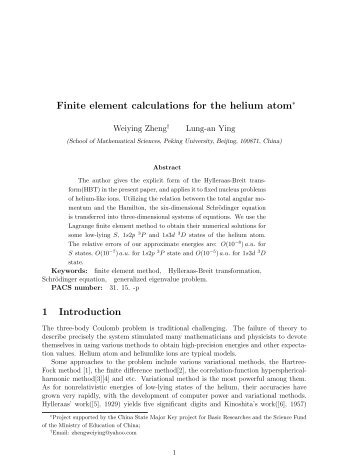 Finite element calculations for the helium atom∗ 1 Introduction