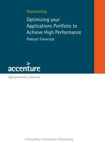 Optimizing your Applications Portfolio to Achieve High Performance