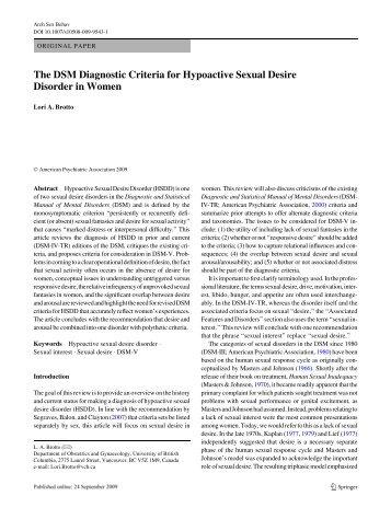 Brotto LA. The DSM Diagnostic Criteria for Hypoactive - DSM-5
