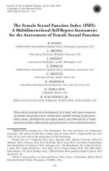 The Female Sexual Function Index (FSFI): A Multidimensional Self ...