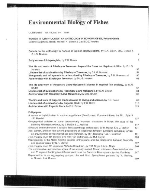 Environmental Biology Of Fishes Maryland State Archives