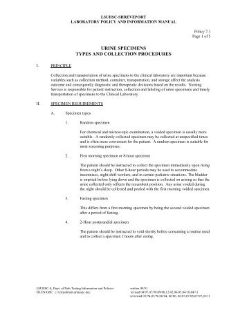 example of a protocol for urine sample collection for legally