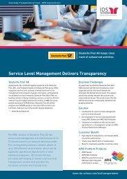 Service Level Management Delivers Transparency - IDS Scheer AG
