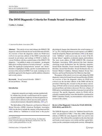 The DSM Diagnostic Criteria for Female Sexual Arousal ... - DSM-5