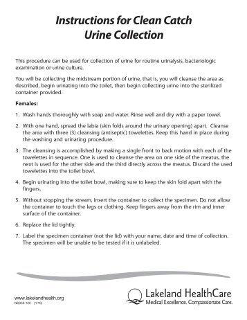 clean catch urine specimen instructions female