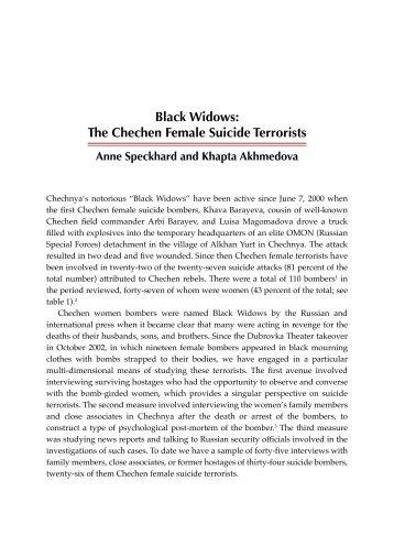 Black Widows: The Chechen Female Suicide Terrorists