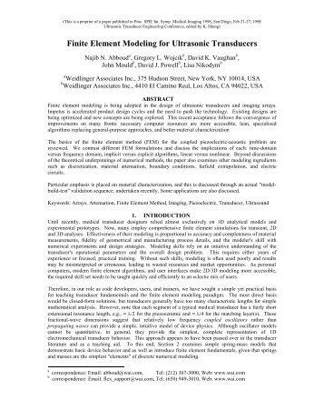 Finite Element Modeling for Ultrasonic Transducers - PZFlex