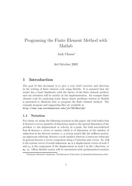 Programing the Finite Element Method with Matlab - Department of