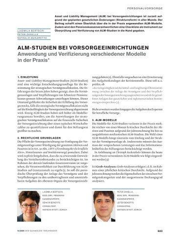 ALM-STUDIEN BEI VORSORGEEINRICHTUNGEN Anwendung und ...