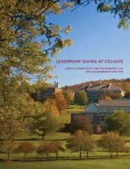 LEADERSHIP GIVING AT COLGATE - Alumni Community
