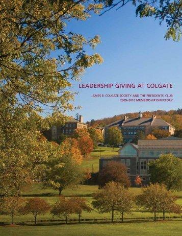 LEADERSHIP GIVING AT COLGATE - Alumni Community
