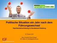 Politische Situation ein Jahr nach dem Führungswechsel in - IGF