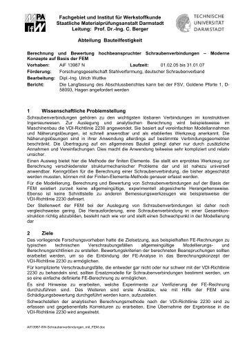 Kurzfassung - MPA / IfW Darmstadt