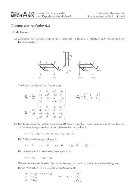 Blatt 6 - Institut für Angewandte und Experimentelle Mechanik