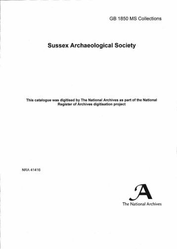 Sussex Archaeological Society - The National Archives
