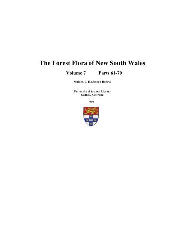 The Forest Flora of New South Wales - Australian Digital Collections