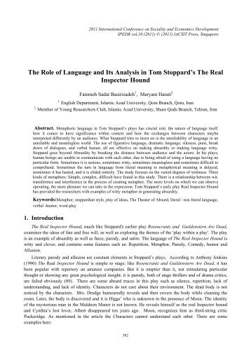 The Role of Language and Its Analysis in Tom Stoppard's ... - ipedr
