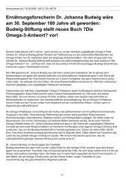 Ernährungsforscherin Dr. Johanna Budwig wäre am 30. September ...