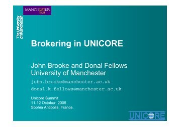 Brokering in UNICORE