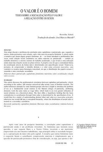 O VALOR É O HOMEM - Revista Novos Estudos