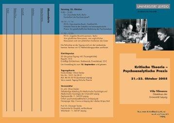 Kritische Theorie – Psychoanalytische Praxis
