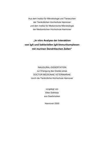 In vitro Analyse der Interaktion von IgA und - Stiftung Tierärztliche ...
