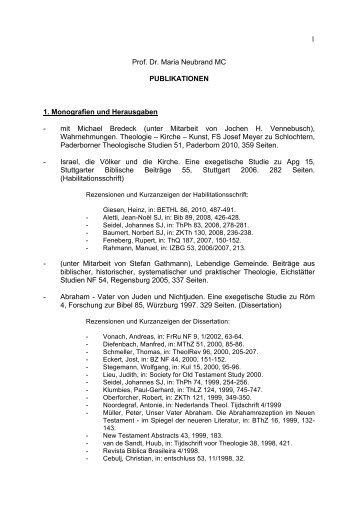 Bibliographie - Theologische Fakultät Paderborn