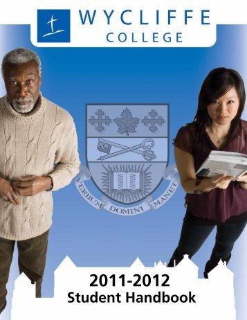 Student Handbook 2011-12 - Wycliffe College