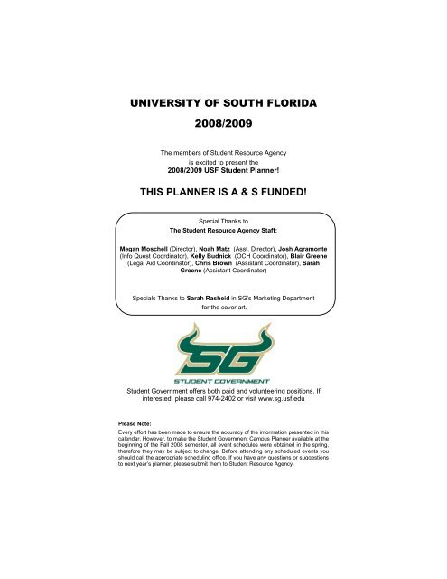 University Of South Florida Usf Student Government
