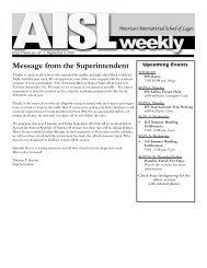 Newsletter 4 - American International School of Lagos