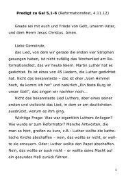 1 Predigt zu Gal 5,1-6 (Reformationsfest, 4.11.12) Gnade sei mit ...