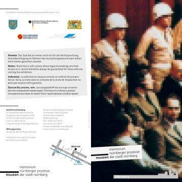 Mehrsprachige Kurzinformation zum Memorium Nürnberger Prozesse