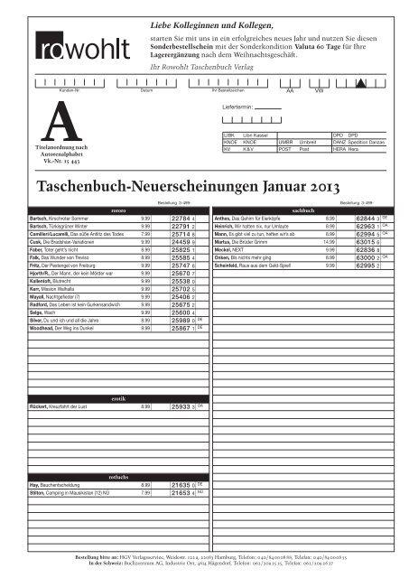 Taschenbuch Neuerscheinungen Januar 2013 Rowohlt
