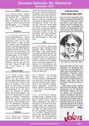 Literatur-Kalender für Österreich