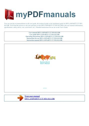 User manual DFI LANPARTY UT NF4 SLI-DR - 1